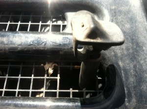 Washer nozzle gets relocated into the grate below the windshield in the middle of the Jeep